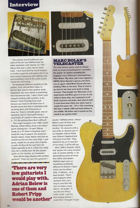 Mike Oldfield acquired this Fender Telecaster from Marc Bolan